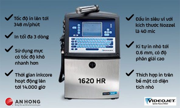 Máy in phun date chứ siêu nhỏ Videojet 1620 HR